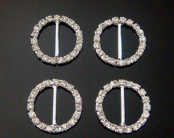 10pcs Rhinestone Ribbon Sliders...Buckles...Round...23mmx23mm....M19