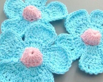 5 Large Handmade Crochet Flower Appliques..Blue..EA114-3