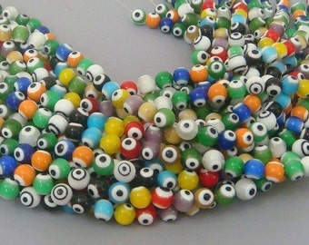 Multi Color Evil Eye Glass Beads 15 inch Strand 10mm