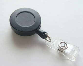 50 Blank Black ID Badge Reels...Retractable Cord...Belt Clip.... Great For Covered Button / Bottle Cap....and more K66-50