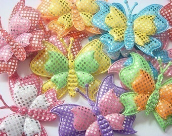 20 Padded Sparkling Butterfly Appliques 10 colors  EA72