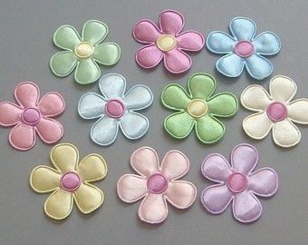 20 Satin Flower Appliques 10 Color EA67