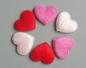 30 Padded Furry Heart Appliques Craft EA22
