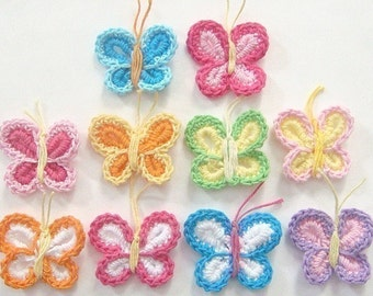 10(pcs) Crochet Butterfly Appliques 10 Color EA117