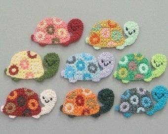 8 Crochet Turtle Appliques 8 Colors EA125