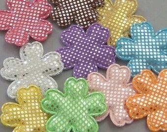 30 Pieces Padded Shiny Flower Appliques 10 Color EA71