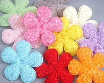 20 Large Padded Furry Flower Appliques 10 Colors EA147