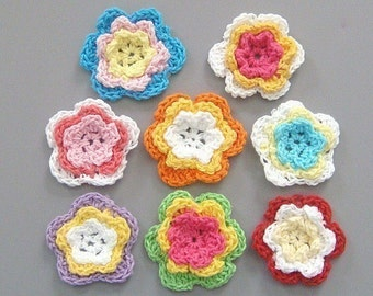 24 Handmade Crochet Flower Appliques 8 Colors EA84