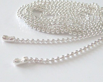 25pcs Shiny Silver Plated Ball Chains Necklace 18 inch 1.5mm ...Great for Scrabble Tiles,Glass Tile Pendant,Bottle Caps and more.....M5