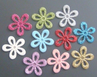 Lot of 30 Padded Shiny Flower Appliques 10 Colors EA123