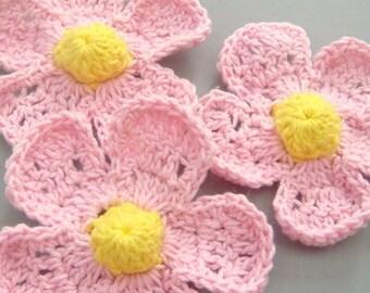 5 Large Handmade Crochet Flower Appliques..Pink..EA114-1
