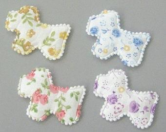 20 Padded Floral Print Doggie Scottie Appliques EA177