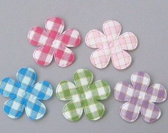 20 Padded Gingham Gold Thread Flower Appliques EA180