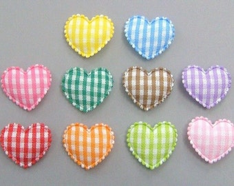 30 Padded Gingham Heart Appliques Sewing Craft EA182