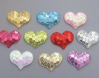 20 Padded Sequin Heart Appliques 10 Colors Craft EA184
