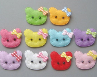 20 Padded Cat Face Kitty Craft Bow Appliques EA188