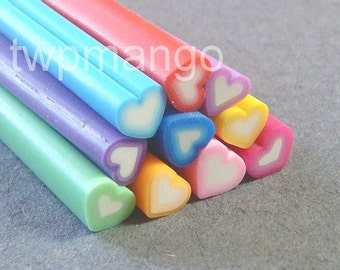 10 Heart Polymer Clay Canes...Assorted..Nail Art...Minature...Cane Bar...N3