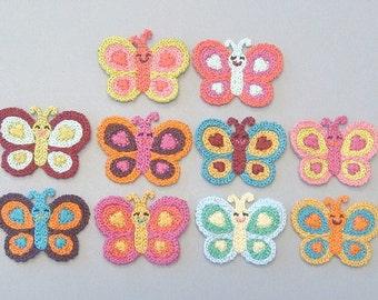 10 Crochet Butterfly Appliques 10 Colors EA204