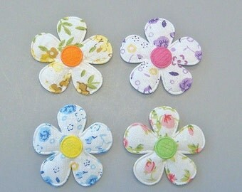 20 Padded Floral Print Flower Appliques EA211