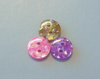 Lot of 90 Glitter Round Buttons Sewing Craft EB83