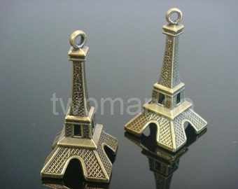2 Large Antique bronze Eiffel Tower Charms...47mm x 22mm...N14