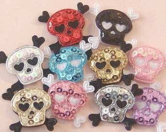 Lot of 20 Padded Sequin Skull Appliques...10 Color...1 inch... EA218