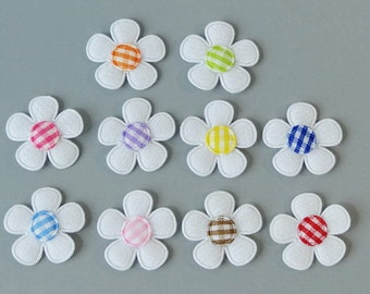 Lot of 30 Padded Felt Flower Gingham Center Appliques 10 Color EA221