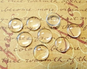 20 Clear Glass Cabochon Dome...12mm...Cameo...Transparent...N20