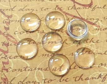20 Clear Glass Cabochon Dome...14mm...Cameo...Transparent...N21