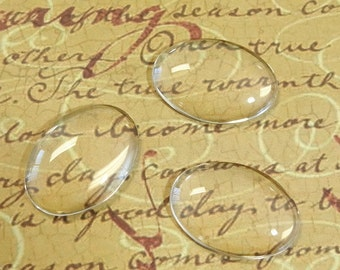 10 Clear Oval Glass Cabochon Dome.....18x25mm.....Cameo...Transparent....N30