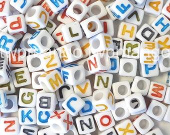 250 Acrylic ABC Letter Alphabet Cube Beads 7mm N34