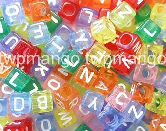 250 Acrylic ABC Letter Alphabet Cube Beads 7mm N36