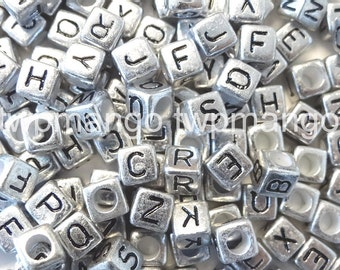 250 Acrylic ABC Letter Alphabet Cube Beads 7mm N37