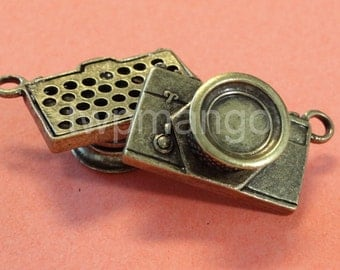 2 Large Camera Antique Bronze Pendant Charm...30mm x 20mm...N41