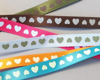30 yards 3/8 inch Heart Satin Ribbon...Craft... Hair Bow...R43-48