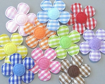 30 Padded Felt Gingham Flower Appliques 1 inch 10 Colors EA232