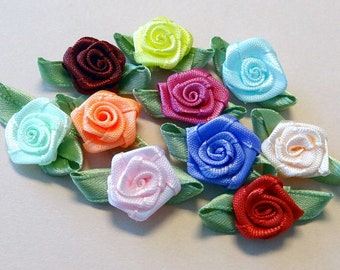 50 Satin Ribbon Rose Appliques 10 Colors Craft Sewing EA234