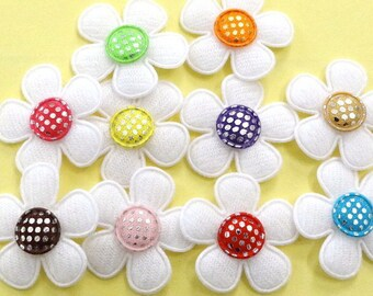 30 Padded Felt Flower Appliques Glitter Dot Center 1 inch 10 Colors EA224