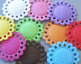 20 Padded Fabric Sun Flower Appliques Double Sided 10 Colors Sewing Craft EA237