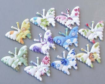 100 Mini Butterfly Appliques Floral Printed 10 Colors Sewing Craft EA240