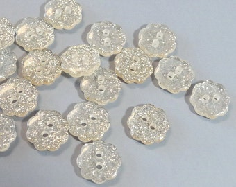 Lot of 100 Glitter Flower Buttons Sewing Craft EB160