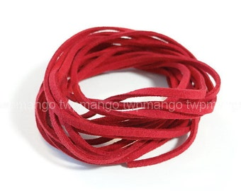 3 Yards Faux Suede Cord Leather Lace...Red..3mm x 1mm....N45-3