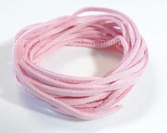 3 Yards Faux Suede Cord Leather Lace..Pink..3mm x 1mm...N45-7