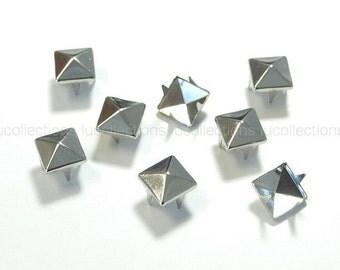 100 Pyramid Metal Studs Spots Nailheads Spikes 8mm N58-8