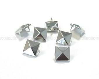 100 Pyramid Metal Studs Spots Nailheads Spikes 10mm N58-10