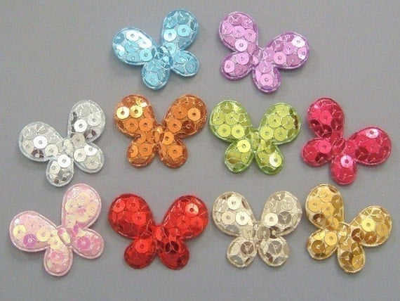 20 Padded Sequin Butterfly Appliques 10 Color EA1