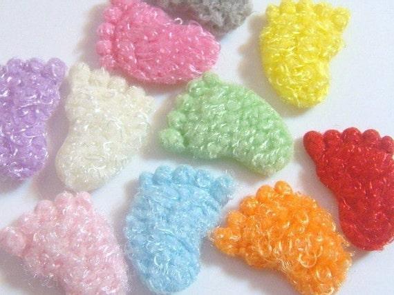 50 Baby Foot Print Appliques 10 Color Trim Craft EA146
