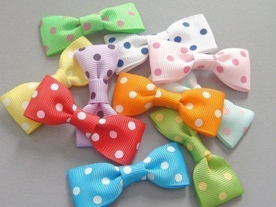 50 Polka Dot Grosgrain Ribbon Bow Applique 10 Colors EA81