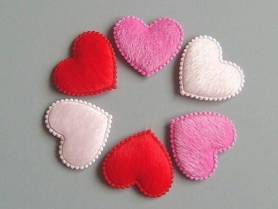 30 padded furry heart appliques craft ea22 from twpmango for Furry craft