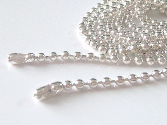 25pcs Shiny Silver Plated Ball Chains Necklace... 24 inch... 2.4mm...Great for Scrabble Tiles,Glass Tile Pendant,Bottle Caps and more......